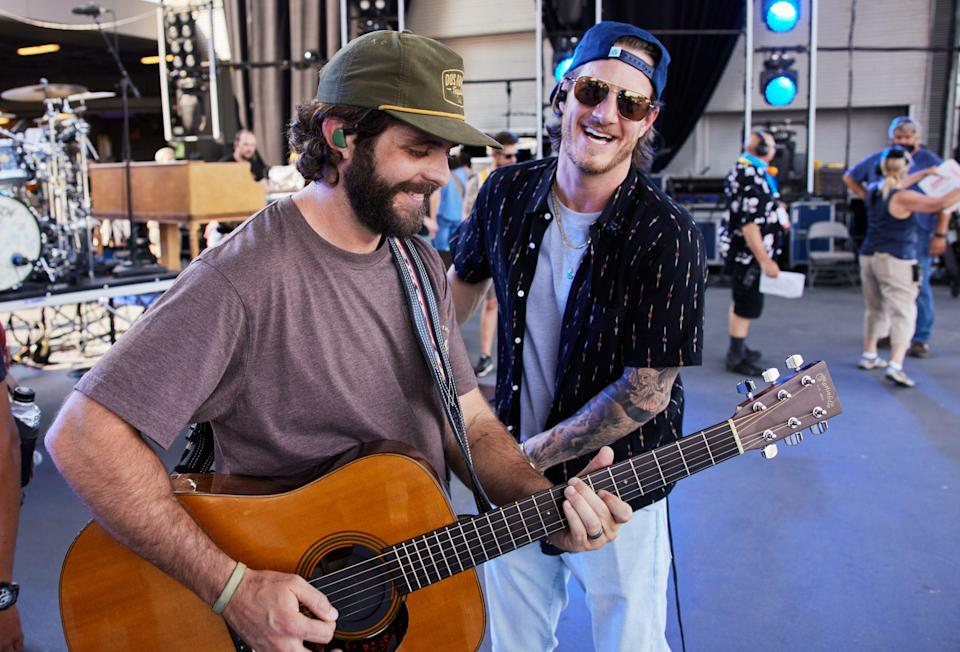 <p>Thomas Rhett and Tyler Hubbard are seen during rehearsals for the 2021 CMA Summer Jam at Ascend Amphitheater in Nashville on Sept. 1.</p>