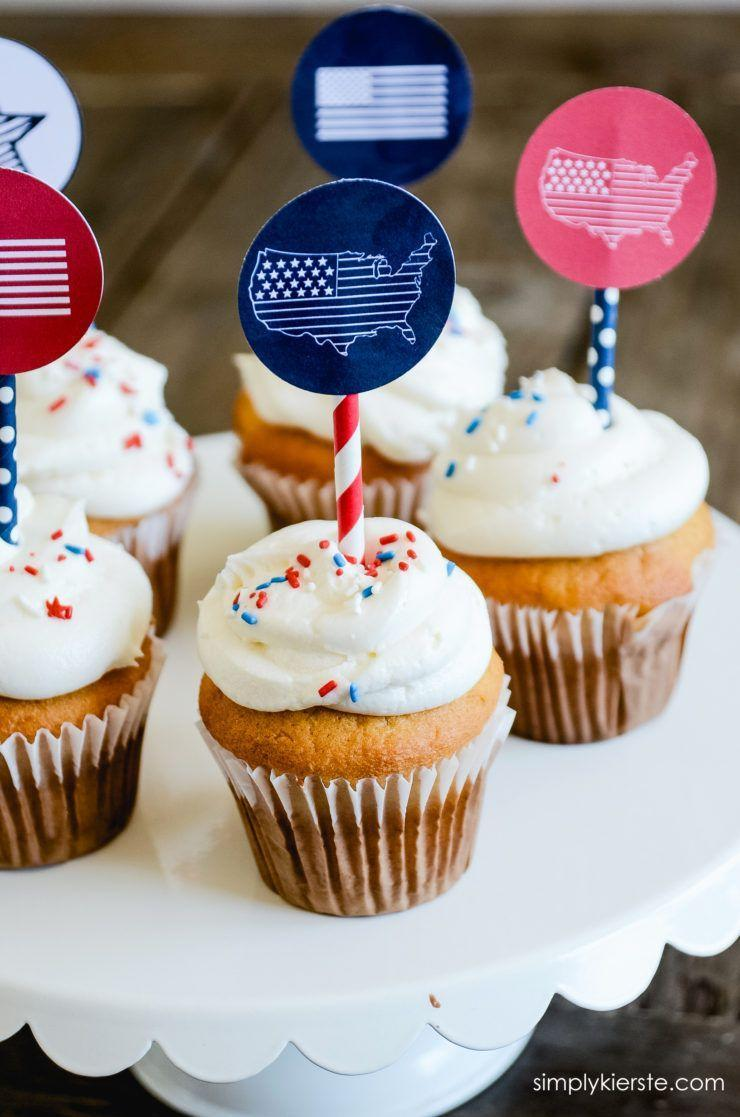 """<p>If you're not much of a baker, this one's for you. Just print, cut and tape little maps to a straw; then stick in a (store-bought) cupcake. That's it! </p><p><a href=""""http://simplykierste.com/2016/06/4th-of-july-cupcake-toppers.html"""" rel=""""nofollow noopener"""" target=""""_blank"""" data-ylk=""""slk:Get the recipe from Simply Kierste Design »"""" class=""""link rapid-noclick-resp""""><em>Get the recipe from Simply Kierste Design »</em></a></p>"""