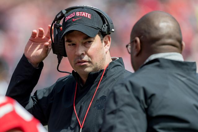 Ohio State Buckeyes head coach Ryan Day talks with assistant Tony Alford during the Ohio State Spring Game on April 13. (Getty)