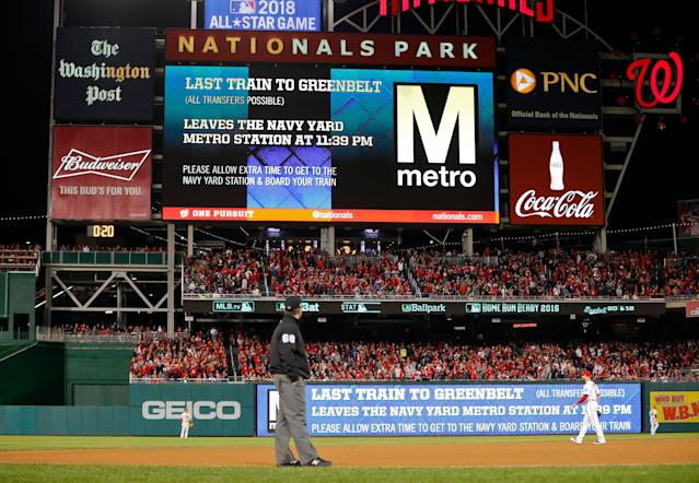 Nationals fans will have to pay to store backpacks at the ballpark in 2019. (AP Photo/Pablo Martinez Monsivais)