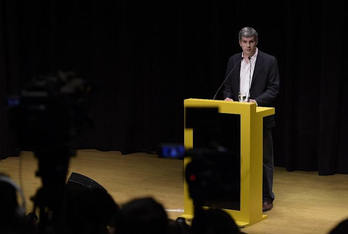 Marcos Pena, who will assume his role as Chief of Cabinet of President-elect Mauricio Macri, speaks during a press conference announcing future ministers, in Buenos Aires on November 25, 2015 (AFP Photo/Juan Mabromata)