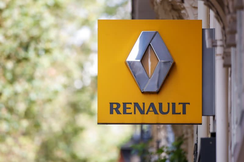 FILE PHOTO: A logo of Renault carmaker is seen in Paris