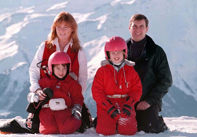 The Duke and Duchess of York, with their children Princess's Beatrice (right) and Eugenie at the Swiss ski resort of Verbier. (Getty Images)