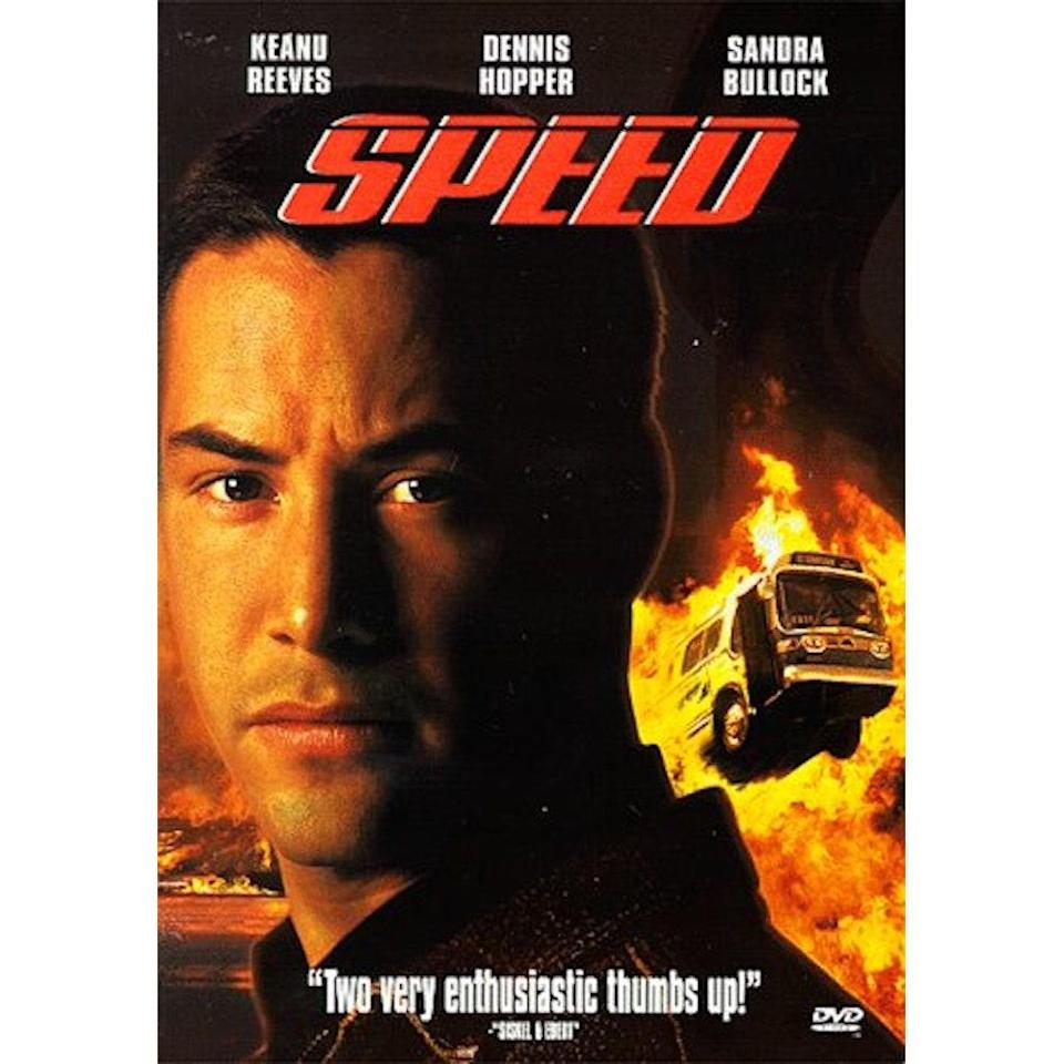 """<p>Yes, the 1994 film starring Sandra Bullock and Keanu Reeves. This is another excellent movie for when you just really need an absurd and entertaining diversion. For those of you who maybe weren't even alive yet when this movie came out, it's about an ex-cop-turned-bombmaker who puts a bomb on a bus, and rigs it to explode if the bus drives slower than 50 miles per hour. Sandra Bullock is a passenger on the bus; Keanu Reeves is the police officer who saves the day (... or DOES he?! Is it possible to spoil a movie that came out almost 30 years ago? If so, sorry. He does save the day, very dreamily.) Somehow this absolutely ridiculous movie is also a romance? Anyway, it was fun. —<em>Kylstra</em></p> <p><strong>Watch it:</strong> $4 to rent or $15 to buy, <a href=""""https://amzn.to/31sUQT9"""" rel=""""nofollow noopener"""" target=""""_blank"""" data-ylk=""""slk:amazon.com"""" class=""""link rapid-noclick-resp"""">amazon.com</a></p>"""
