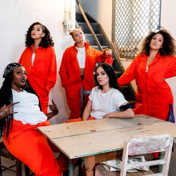 Quebec hip hop and rap artists Nodly, OneNessa, Ruby Red, MCM and Meryem Saci collaborated on an EP to prove women have a place in the province's hip hop scene.  (Facebook/Rapelles - image credit)