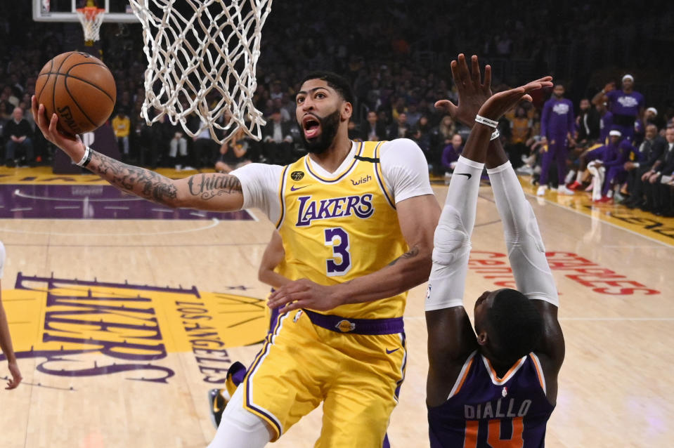 Lakers forward Anthony Davis will be a free agent this summer, but he isn't going anywhere. (AP Photo/Mark J. Terrill)