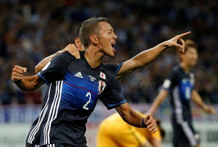 Football Soccer - Japan v Australia - World Cup 2018 Qualifiers - Saitama Stadium 2002, Saitama Japan - August 31, 2017 - Japan's Ideguchi Yosuke celebrates his goal. REUTERS/Toru Hanai