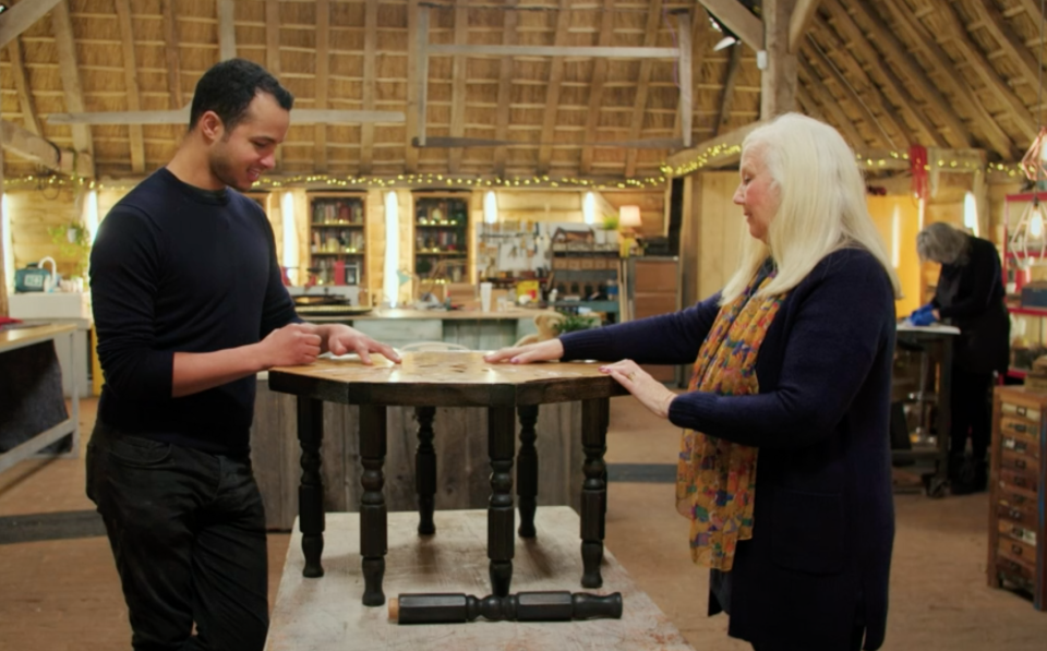 The much-loved table had become worn down after years of being well-used (BBC)