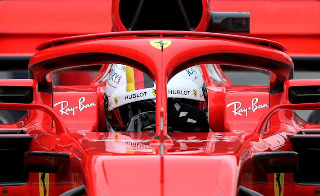 FILE PHOTO: Motor Racing - F1 Formula One - Formula One Test Session - Circuit de Barcelona-Catalunya, Montmelo, Spain - March 8, 2018 Sebastian Vettel of Ferrari during testing REUTERS/Albert Gea/File Photo