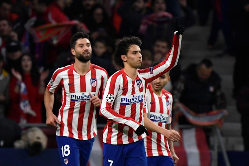 A first-half goal by Joao Felix (center) helped Atletico Madrid beat Lokomotiv Moscow and advance to the knockout stage of the UEFA Champions League. (Pierre-Philippe Marcou/Getty)