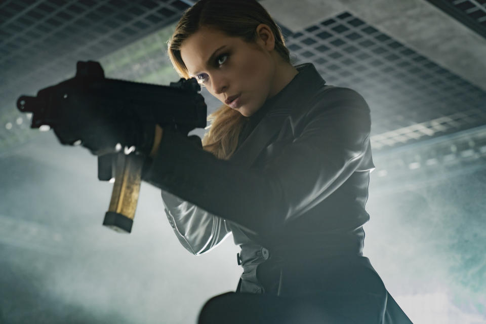 """This image released by Paramount Plus shows Sophie Cookson in a scene from """"Infinite."""" (Peter Mountain/Paramount+ via AP)"""