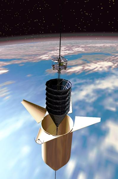 Climber ascends space elevator, heading spaceward from its aeroshell.