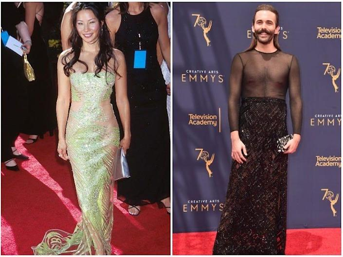 A composite image of Naomi Grossman, Lucy Liu, and Jonathan Van Ness at the Emmys.