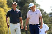 Australians Adam Scott and Cameron Smith practised together at Augusta on Monday