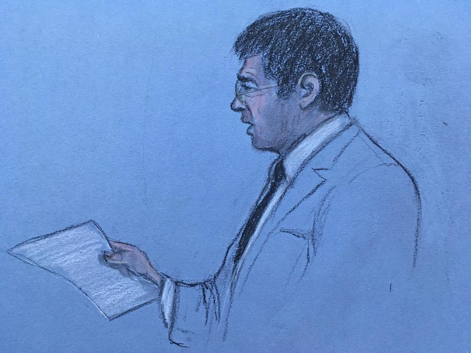 Court artist sketch by Elizabeth Cook of Jeremy Everard, the father of Sarah Everard, reading a victim impact statement at the Old Bailey in London, on the first day of a two-day sentence hearing after former Metropolitan Police officer Wayne Couzens pleaded guilty to the kidnap, rape and murder of Sarah Everard. Picture date: Wednesday September 29, 2021.