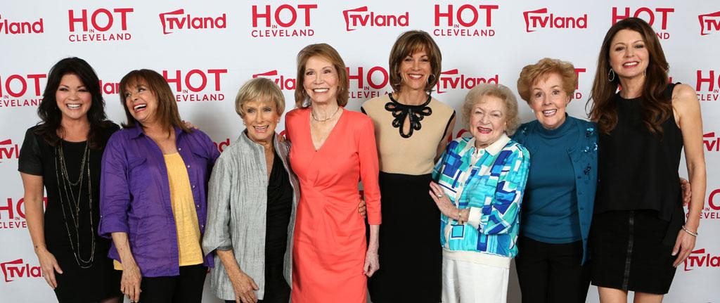 "TV Land's ""Hot in Cleveland"" reunites the female cast members of ""The Mary Tyler Moore Show"" for an upcoming episode of the cable sitcom. Joining them in the photo are the ?Hot in Cleveland? series regulars. From Left to Right: Valerie Bertinelli, Valerie Harper, Cloris Leachman, Mary Tyler Moore, Wendie Malick, Betty White, Georgia Engel and Jane Leeves."