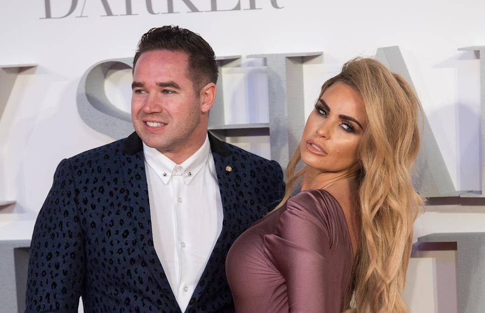 LONDON, ENGLAND - FEBRUARY 09:  Katie Price and Kieran Hayler attend the