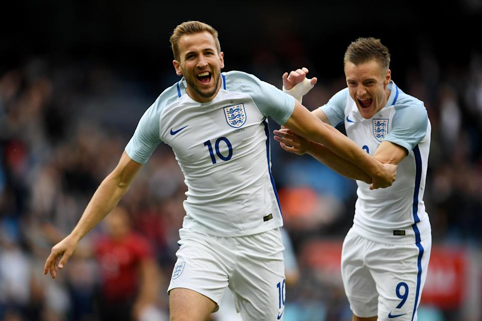 Harry Kane celebrates one of his many goals for England. The Three Lions meet Colombia in the 2018 World Cup Round of 16 on Tuesday. (Getty)