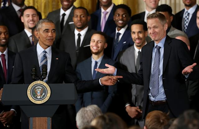 The Warriors decided to spend time with Barack Obama on Thursday. (Getty Images)