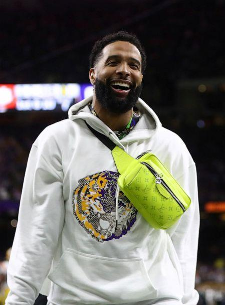PHOTO: LSU Tigers former player Odell Beckham, Jr. is shown before the College Football Playoff national championship game against the Clemson Tigers at Mercedes-Benz Superdome, New Orleans, Jan. 13, 2019. (Mark J. Rebilas/USA Today Sports via Reuters)