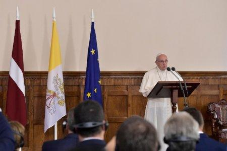 Pope Francis speaks during a meeting at the Presidential Palace in Riga, Latvia, during the second leg of Pope Francis' trip to the Baltic states September 24, 2018. Vatican Media/Handout via REUTERS