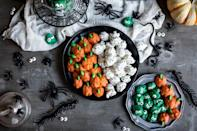 "<p>Salty, sweet, nutritious, and delicious, these bite-size apps will go fast. Crunchy walnuts are coated in a sweet candy glaze, making it hard to eat just one. </p> <p><strong>Get the recipe:</strong> <a href=""https://www.culinaryhill.com/halloween-walnuts/"" class=""link rapid-noclick-resp"" rel=""nofollow noopener"" target=""_blank"" data-ylk=""slk:Halloween walnuts"">Halloween walnuts</a></p>"