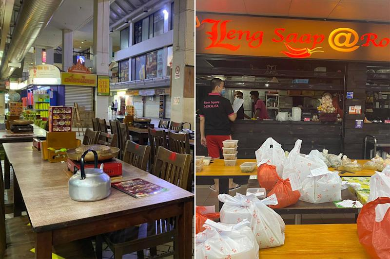 New Udon Thai Food (left) and Leng Saap @ Rot Fai Market were among the businesses fined following ESG's sweep in August. (PHOTOS: New Udon Mookata / Facebook, Leng Saap Rot Fai Market / Facebook)