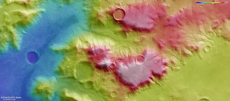 This color-coded topographic view shows the Nereidum Mountain range, which lies on the surface of Mars in the planet's southern hemisphere. The image shows a region within the mountain range which is a part of the large Argyre impact basin, one of the biggest impact structures on the entire Red Planet.