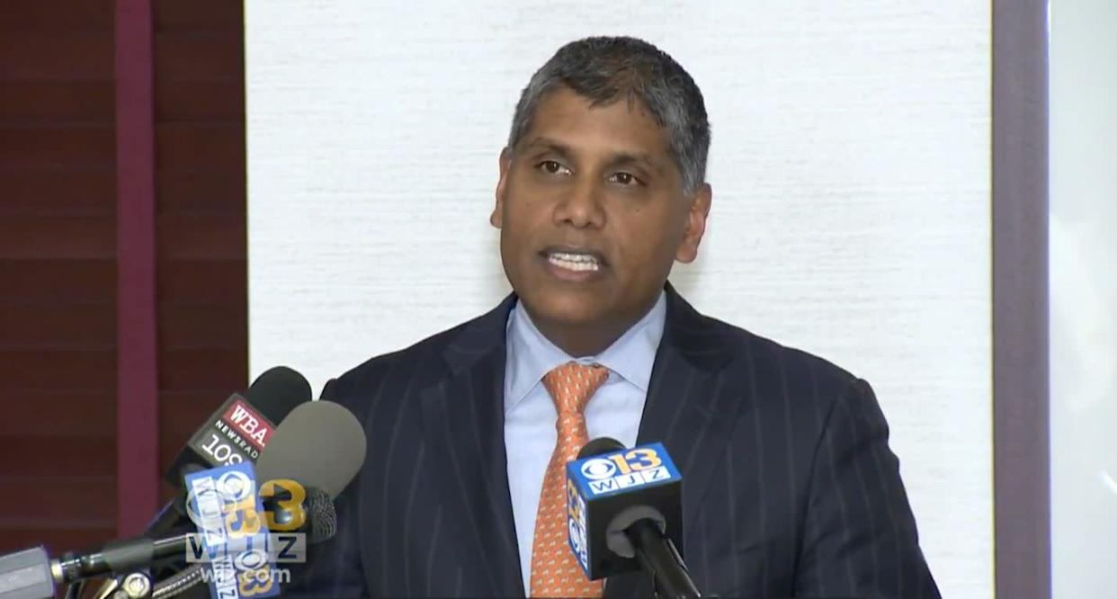 Dr. Mohan Suntha, the hospital's president and CEO, apologized for the incident at a press conference. (Photo: CBS Baltimore)