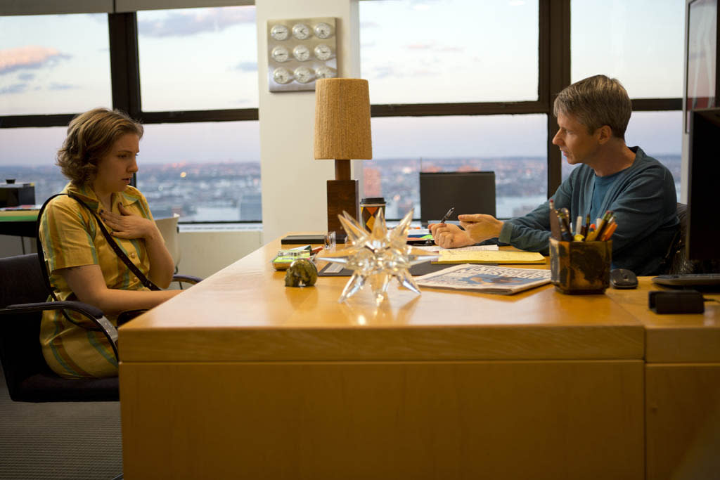 """Lena Dunham and John Cameron Mitchell in the """"Girls"""" Season 2 episode, """"On All Fours."""""""