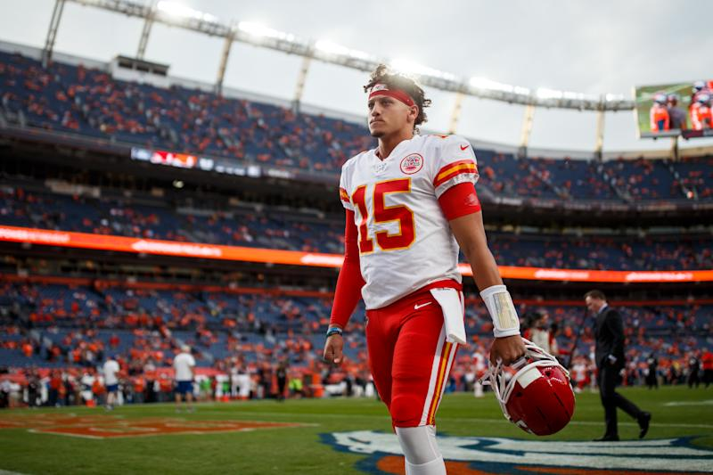 Quarterback Patrick Mahomes #15 of the Kansas City Chiefs walks off the field before a game against the Denver Broncos at Empower Field at Mile High on October 17, 2019 in Denver, Colorado. (Photo by Justin Edmonds/Getty Images)