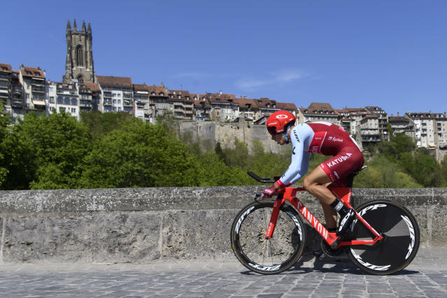 Simon Spilak from Slovenia of team Katusha Alpecin in action during the prologue, a 4,02 km race against the clock, at the 72th Tour de Romandie UCI ProTour cycling race in Fribourg, Switzerland, Tuesday, April 24, 2018. (Jean-Christophe Bott/Keystone via AP)