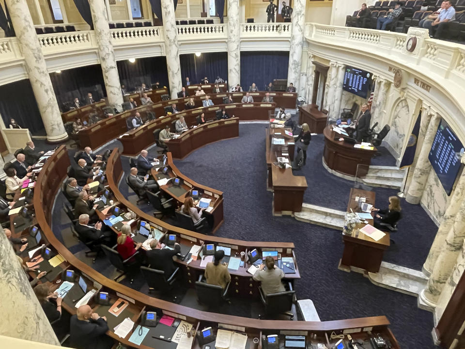 FILE - In this March 9, 2021, file photo, House members meet in the Statehouse, in Boise, Idaho. Mainstream and far-right Republicans are battling for control of the party and the state in the deeply conservative state. (AP Photo/Keith Ridler, File)