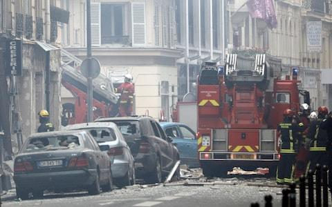 Paris police say several people have been injured in an explosion and fire at a bakery believed caused by a gas leak. - Credit: AP