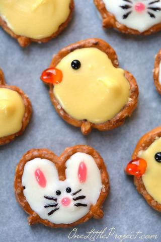 """<p>Making Easter candy doesn't have to be difficult. All it takes is a little imagination to turn pretzels into duck- and bunny-shaped Easter candies.</p><p><strong>Get the recipe at <a href=""""http://onelittleproject.com/pretzel-bunnies-and-ducks/"""" rel=""""nofollow noopener"""" target=""""_blank"""" data-ylk=""""slk:One Little Project"""" class=""""link rapid-noclick-resp"""">One Little Project</a>.</strong></p>"""