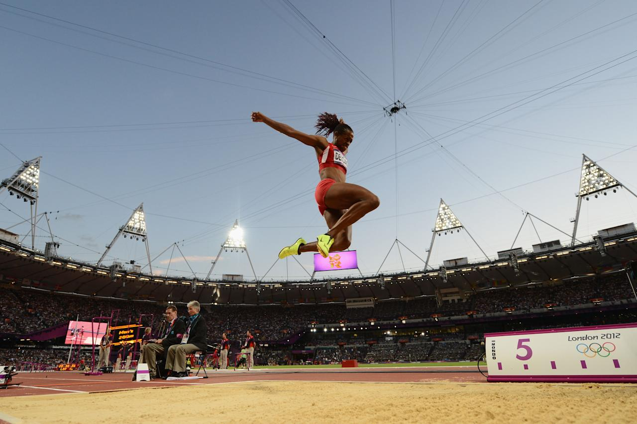 LONDON, ENGLAND - AUGUST 08:  Janay Deloach of the United States competes in the Women's Long Jump Final on Day 12 of the London 2012 Olympic Games at Olympic Stadium on August 8, 2012 in London, England.  (Photo by Stu Forster/Getty Images)