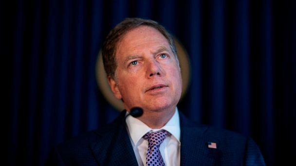 PHOTO: In this file photo taken on Oct. 10, 2019, U.S. Attorney for the Southern District of New York Geoffrey Berman speaks at a press conference in New York City. (Johannes Eisele/AFP via Getty Images, File)