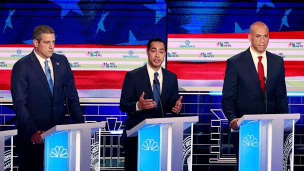 PHOTO: Tim Ryan, Julian Castro and Cory Booker participate in the first Democratic primary debate hosted by NBC News at the Adrienne Arsht Center for the Performing Arts in Miami, Florida, June 26, 2019. (Wilfredo Lee/AP)