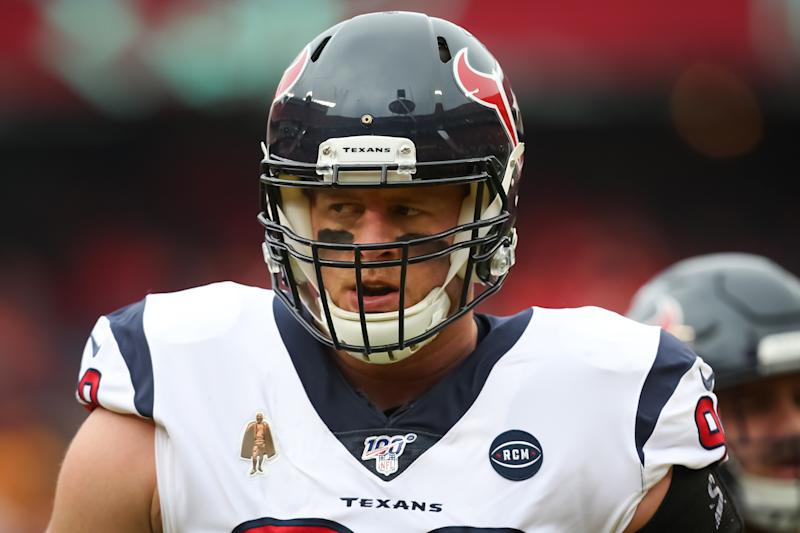 KANSAS CITY, MO - JANUARY 12: Houston Texans defensive end J.J. Watt (99) before an NFL Divisional round playoff game between the Houston Texans and Kansas City Chiefs on January 12, 2020 at Arrowhead Stadium in Kansas City, MO. (Photo by Scott Winters/Icon Sportswire via Getty Images)