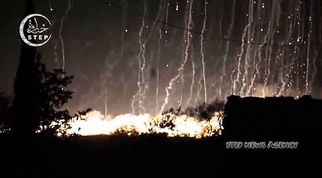 WP allegedly dropped on a civilian area in Syria. Source: Step News Agency