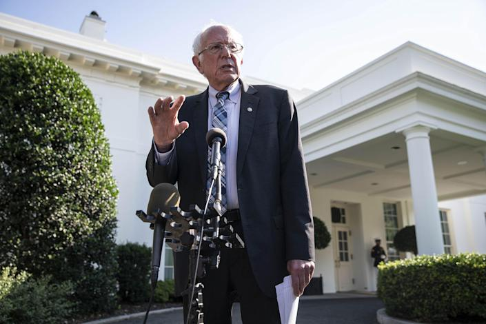 """Sanders speaks to members of the media following a meeting with President Biden at the White House on July 12.<span class=""""copyright"""">Sarah Silbiger—UPI/Bloomberg/Getty Images</span>"""