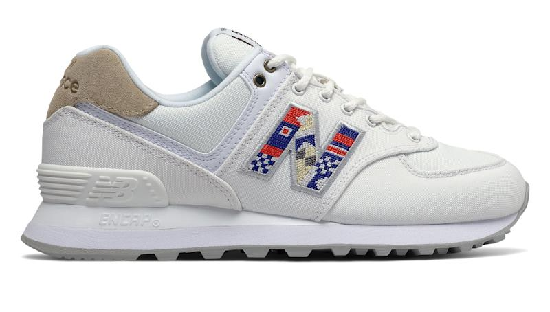 New Balance 574 in white with incense