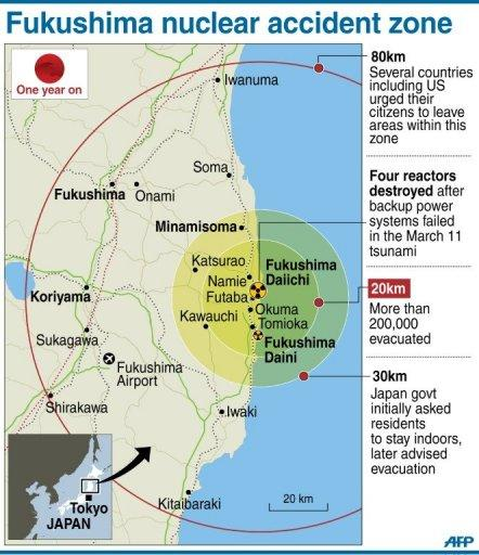 Map showing the evactuation zone around Japan's stricken Fukushima nuclear power plant
