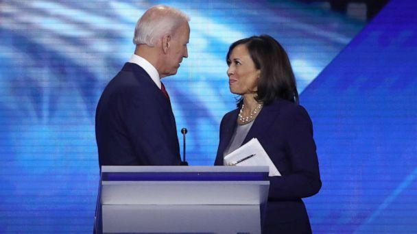 PHOTO: Democratic presidential candidates former Vice President Joe Biden and Sen. Kamala Harris talk after a debate on Sept. 12, 2019 in Houston. (Win McNamee/Getty Images)