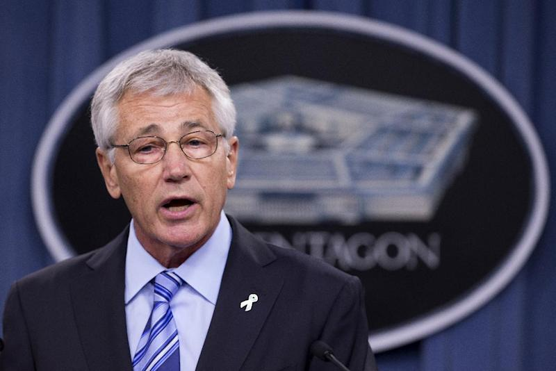 Defense Secretary Chuck Hagel speaks to reporters about the Defense Department's sexual assault prevention and response program, Thursday, May 1, 2014, at the Pentagon. Hagel said sexual assaults are a threat to both women and men in uniform. And he says the Pentagon must do more to fight a culture that discourages victims from reporting assault. (AP Photo/Manuel Balce Ceneta)