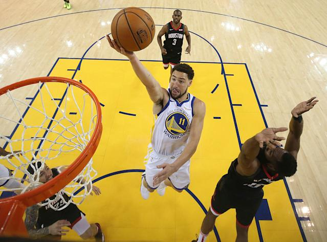 A layup by the Golden State Warriors' Klay Thompson (11) ultimately sealed a Game 5 win over the Houston Rockets. (Ezra Shaw/Pool Photo via AP)