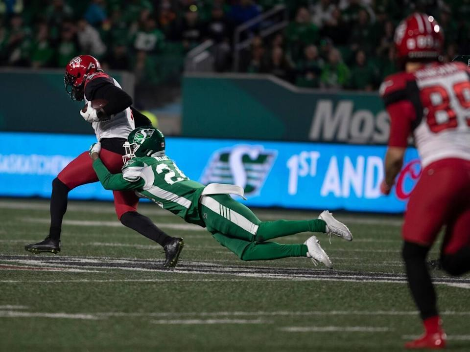 It would appear the Saskatchewan Roughriders are just hanging on to their hopes of hosting a playoff game this year. After Saturday's defeat, the Riders have lost the season series with Calgary and have only a two-point advantage on the Stampeders in the standings with just five games left.  (The Canadian Press - image credit)