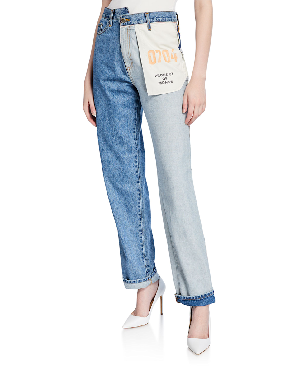 "<strong>Monse</strong> Asymmetric Inside Out Pocket Jeans, 718,07 €, erhältlich bei <a href=""https://intl.bergdorfgoodman.com/p/monse-asymmetric-inside-out-pocket-jeans-prod149870002?parentId=&icid=&searchType=MAIN&rte=%252Fsearch.jsp%253Fq%253Dmonse%2526N%253D0%2526Ntt%253Dmonse%2526_requestid%253D40393&grpId=prod149870002&eItemId=prod146720088&cmCat=search&focusProductId=prod146720088"" rel=""nofollow noopener"" target=""_blank"" data-ylk=""slk:Bergdorf Goodman"" class=""link rapid-noclick-resp"">Bergdorf Goodman</a>"