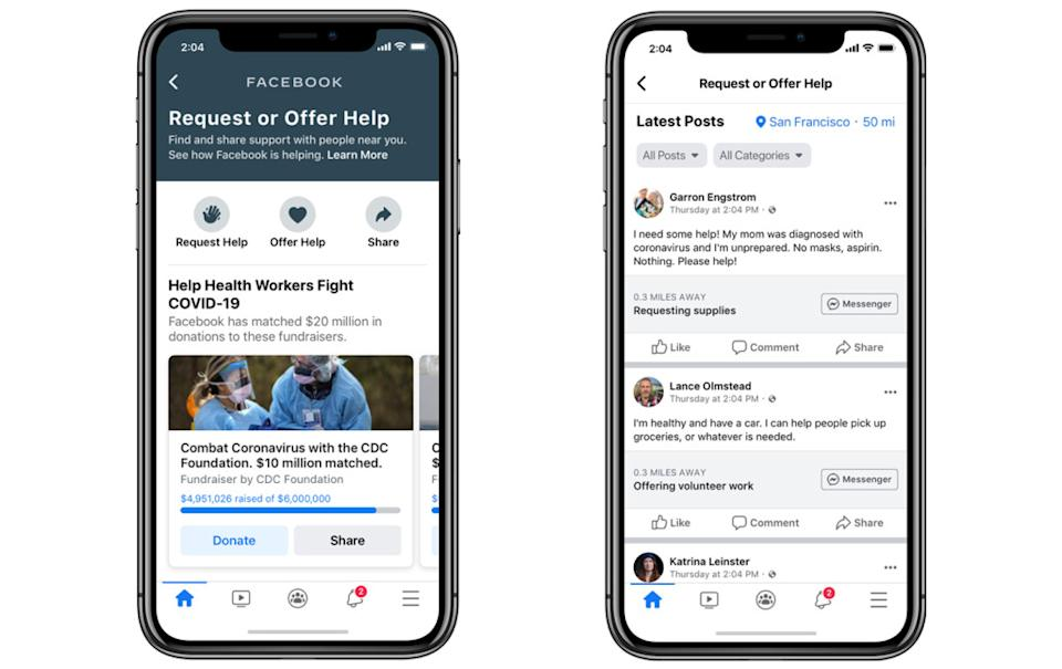 Facebook's new Community Help feature, which allows users to offer or request help in their community