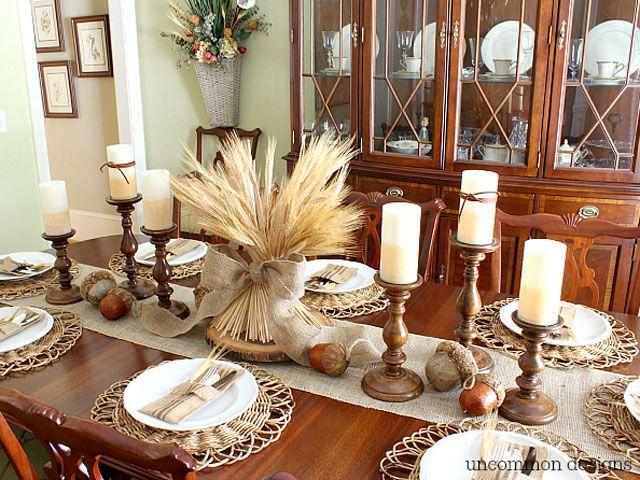 """<p>Pair a bundle of wheat with brown candlesticks to create a neutral yet earthy tablescape. </p><p><strong>Get the tutorial at <a href=""""http://www.uncommondesignsonline.com/how-to-make-a-wheat-bundle-centerpiece/"""" rel=""""nofollow noopener"""" target=""""_blank"""" data-ylk=""""slk:Uncommon Designs"""" class=""""link rapid-noclick-resp"""">Uncommon Designs</a>.</strong> </p><p><a class=""""link rapid-noclick-resp"""" href=""""https://www.amazon.com/Mega-Candles-Unscented-Receptions-Celebrations/dp/B00ATGA136?tag=syn-yahoo-20&ascsubtag=%5Bartid%7C10050.g.2130%5Bsrc%7Cyahoo-us"""" rel=""""nofollow noopener"""" target=""""_blank"""" data-ylk=""""slk:SHOP WHITE CANDLES"""">SHOP WHITE CANDLES</a></p>"""
